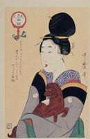 浮世絵 歌麿 美人五面相 犬を抱く女