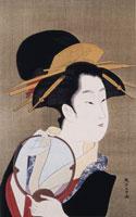 浮世絵版画 鳥高斎栄昌団扇持つ女