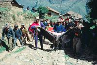 コンドルを村の祭広場へ運ぶ男たち