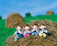 創作人形 牧草の上でピクニックの家族