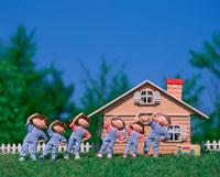 体操する家族 創作人形