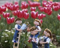 花に水を遣る家族 25210005854| 写真素材・ストックフォト・画像・イラスト素材|アマナイメージズ