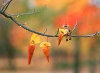 木工人形・落葉遊び みの虫 25210008433| 写真素材・ストックフォト・画像・イラスト素材|アマナイメージズ