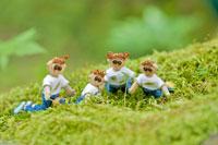 木工人形・森の中で新芽を見守る親子 25210008619| 写真素材・ストックフォト・画像・イラスト素材|アマナイメージズ
