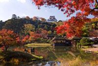 秋の玄宮園と彦根城 25222013199  写真素材・ストックフォト・画像・イラスト素材 アマナイメージズ