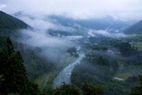 雨霧漂う付知川
