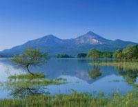 新緑の檜原湖と磐梯山 磐梯高原