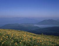 夏の霧ケ峰と北アルプスの朝景