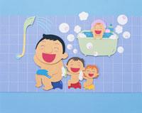 ペーパーイラスト お風呂に入る家族