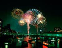 蔵前橋より望む隅田川の花火