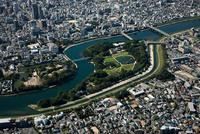 岡山城と後楽園 空撮