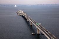 東京湾アクアライン(東京湾アクアブリッジ)より海ほたるパーキング周辺