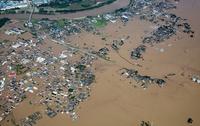 東日本豪雨の大雨により鬼怒川決壊した常総市水海道市街地周辺