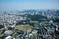 国立競技場建て替え現場(更地状態)周辺より赤坂,東京駅方面