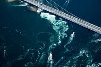 鳴門の渦潮(鳴門海峡)と大鳴門橋,観光船