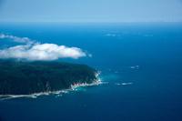 宇部町の半島と上空の海霧と太平洋周辺