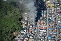 宇都宮郊外の火災現場
