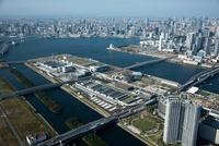 東京都豊洲市場周辺より東京港,東京の街並み