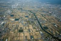 奈良盆地(条里地割)田原本町周辺(中央は大和川)