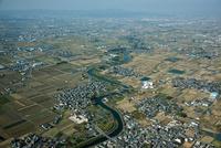 奈良盆地(中央は大和川)大字豊前より天理市方面