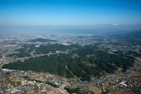 齊明天皇越智崗上陵周辺より大和三山(畝傍山,耳成山,天香久山)と奈良盆地