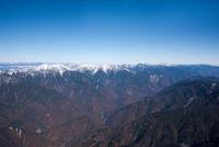 明石山脈(南アルプス)の山並み(鳥森山周辺より大沢岳、赤石岳、中岳、烏帽子岳方面)