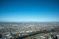 関東平野(荒川,戸田市より筑波山方面)