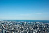 青空と東京の街並み(六本木,品川より東京湾方面)