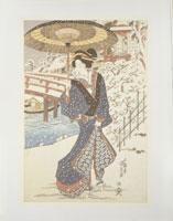 国貞「木母寺」三枚組の右 25450000821| 写真素材・ストックフォト・画像・イラスト素材|アマナイメージズ