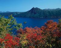 紅葉の摩周湖より望む摩周岳