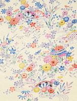 着物柄 花と水草