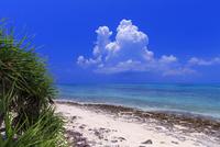 エメラルドグリーンの海と空と入道雲 カイジ浜 竹富島