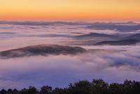 高谷山 霧の海展望台より雲海と山並み朝景