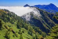 秋の石鎚山登山道より岩黒山