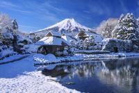 雪のはんの木林民俗資料館より富士山 25516049910| 写真素材・ストックフォト・画像・イラスト素材|アマナイメージズ