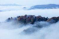 雲海に包まれた備中松山城 25532011807| 写真素材・ストックフォト・画像・イラスト素材|アマナイメージズ