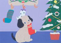 イヌとクリスマスツリー
