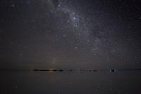 ウユニ湖上に沈む竜骨座とマゼラン大星雲