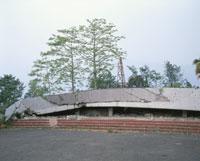 地震で倒壊したビル捕里