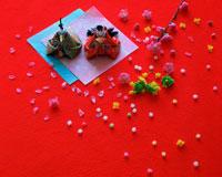 雛祭 雛人形とアラレと桃の花