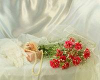 カーネーションの花とネックレス