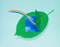 CG 緑の葉に虹