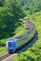S字カーブを走る室蘭本線のキハ281系特急スーパー北斗(後追い)