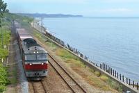海辺を走る室蘭本線のDF200牽引貨物列車