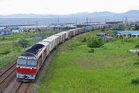 カーブを走る室蘭本線のDF200牽引貨物列車