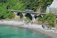 海沿いの鉄橋を渡る土讃線の1000形普通気動車