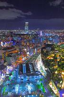 夜景のあべのハルカスと大阪のビル群 25801013974| 写真素材・ストックフォト・画像・イラスト素材|アマナイメージズ