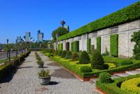 ガーデンと高層ビル