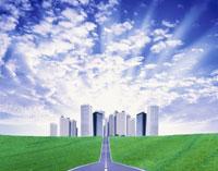 ビル群と道とウロコ雲 イメージ