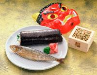 焼き鰯と巻き寿司と節分の豆